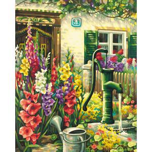 Schipper - 609130632 - Peinture aux numeros - Le puits fleuri du village - Cadre 40 x 50 cm (229654)