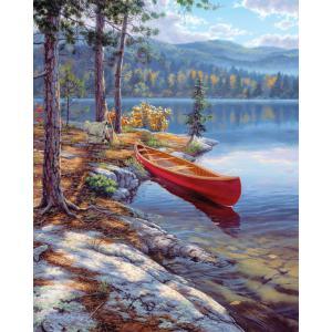 Mammut - 107004 - Peinture aux numéros - 23 x 34 x 2,5 cm - Collection artistes - bateau sur le lac (236548)