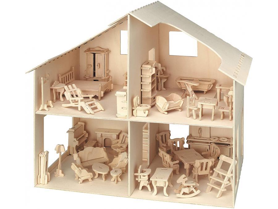pebaro maison de poup es avec accessoires 40x37 cm. Black Bedroom Furniture Sets. Home Design Ideas