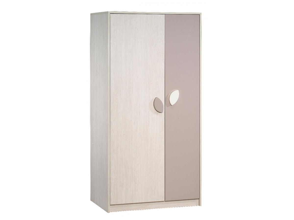 sauthon armoire 2 portes leaf frene blanc et taupe. Black Bedroom Furniture Sets. Home Design Ideas