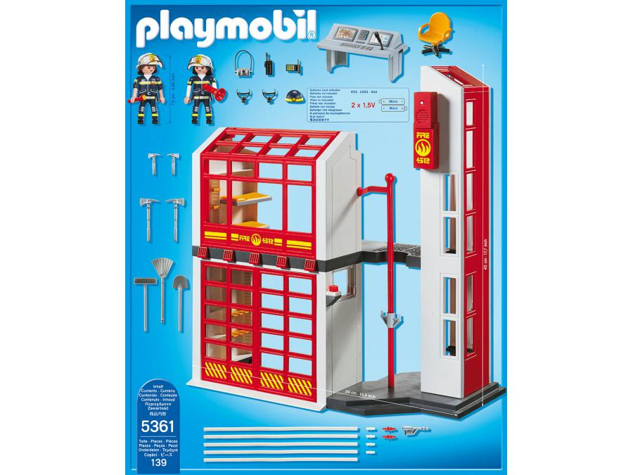 playmobil caserne de pompiers avec alarme. Black Bedroom Furniture Sets. Home Design Ideas