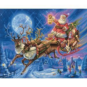 Schipper - 609300694 - Peinture aux numeros - le pere Noel et son traineau tire par des rennes 40 x 50 cm (275626)