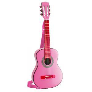 Bontempi - GSW7571/SL - Guitare en bois 75 cm, rose avec bandoulière et stickers (276228)