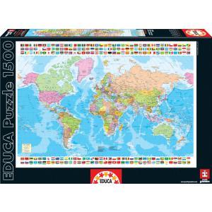 Educa - 16301 - Puzzle 1500 carte du monde (276568)