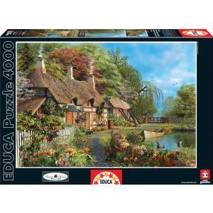 Educa - 16323 - Puzzle 4000 chaumière fleurie au bord de l'eau (276604)