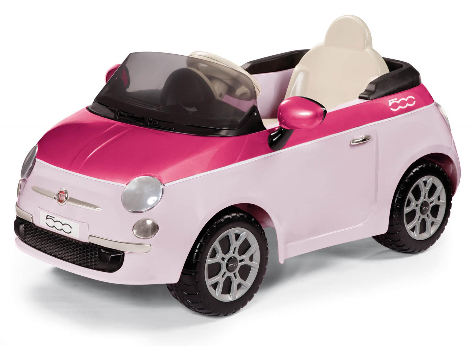 peg perego porteur lectrique fiat 500 rose 6 volts. Black Bedroom Furniture Sets. Home Design Ideas