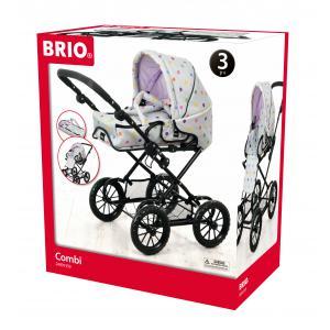Brio - 24891359 - Poussette ''combi 3 en 1'' grise a pois multicolores - Age 3 ans + (293612)