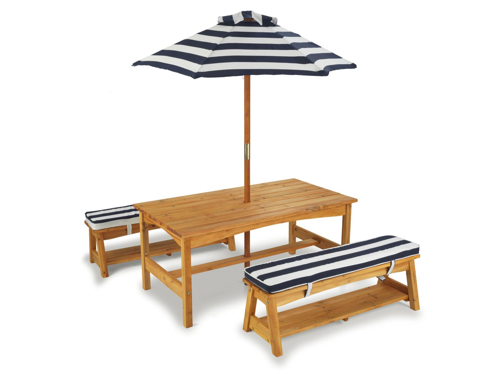 kidkraft ensemble table et bancs rembourr s d 39 ext rieur avec parasol. Black Bedroom Furniture Sets. Home Design Ideas