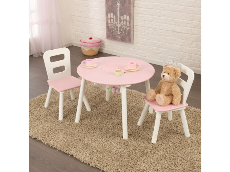 kidkraft ensemble table de rangement ronde plus chaise blanc et rose. Black Bedroom Furniture Sets. Home Design Ideas
