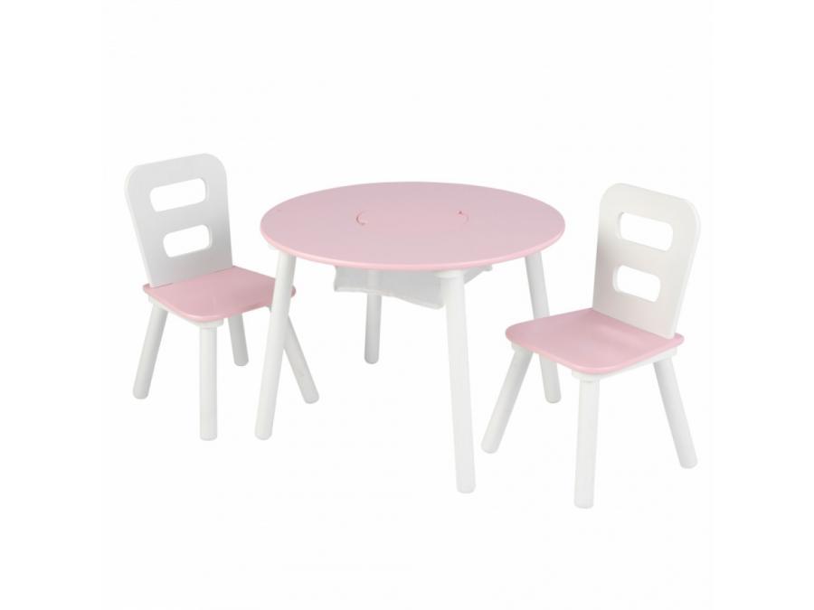 kidkraft ensemble table de rangement ronde plus chaise blanc et rose. Black Bedroom Furniture Sets. Home Design Ideas
