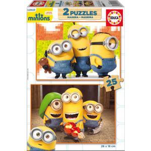 Educa - 16526 - Puzzle Minions 2X25 pièces Bois (295314)