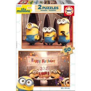 Educa - 16527 - Puzzle Minions 2X50 pièces Bois (295316)