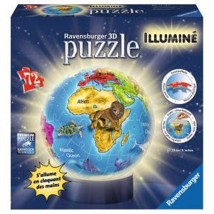 Ravensburger - 12184 - 3D Puzzles ronds - 72 pièces - Collection illuminée - Globe (300236)