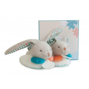 Doudou et compagnie - DC2985 - Lapin happy - chaussons avec hochet - boîte cadeau (305668)