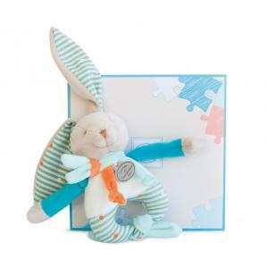 Doudou et compagnie - DC2983 - Lapin happy - hochet - 15 cm - boîte cadeau (305682)