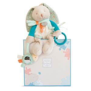 Doudou et compagnie - DC2987 - Lapin happy - pantin d'activités - 25 cm - boîte cadeau (305684)