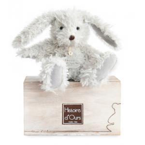 Histoire d'ours - HO2608 - Peluche Lapin chiné - perle  10 cm 10 cm (306016)
