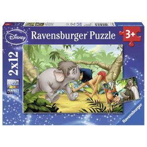 Ravensburger - 07587 - Puzzle 2x12 pièces - Mowgli et ses amis / Livre de la jungle (306532)