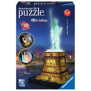 Ravensburger - 12596 - 3D puzzle Building 108 pièces - Statue de la Liberté - Night Edition (306730)