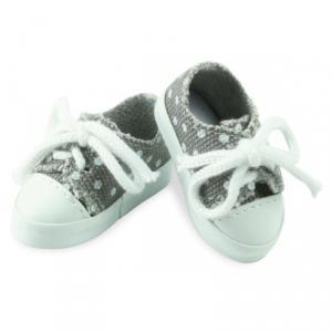 Petitcollin - 603404 - Chaussures de sport toile grise à pois blancs pour poupée MINOUCHE taille 34 cm - à partir de 3+ (308014)