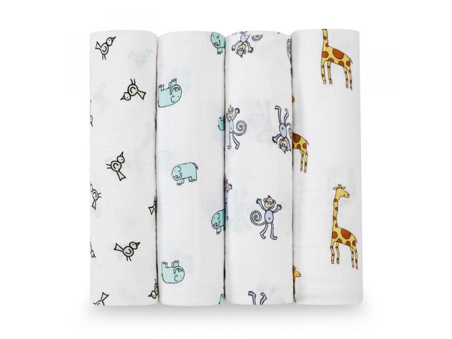 aden and anais maxi lange lot de 4 jungle jam animaux de la jungle 120x120cm. Black Bedroom Furniture Sets. Home Design Ideas