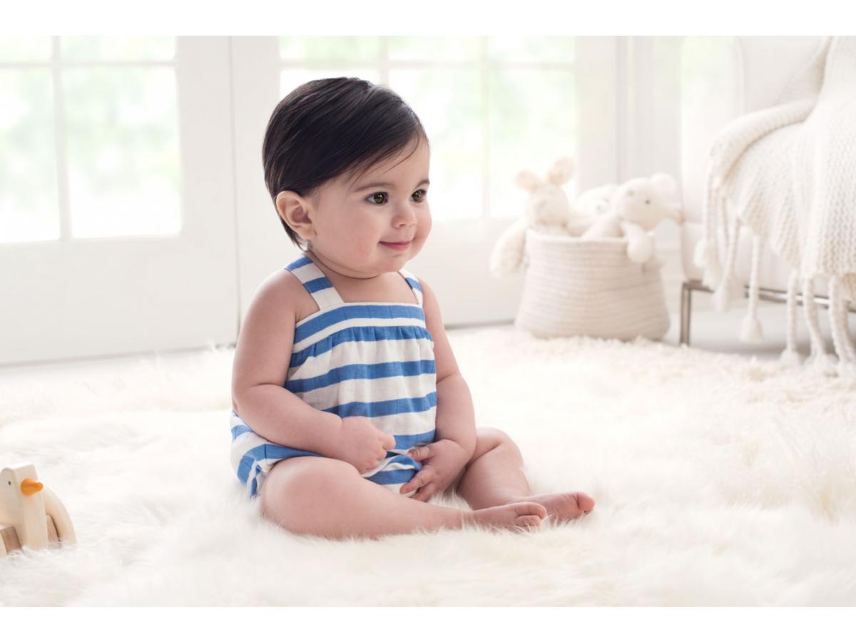 aden and anais barboteuse ultramarine blazer stripe 0 3m. Black Bedroom Furniture Sets. Home Design Ideas