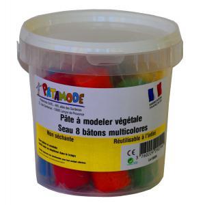 Patamode - 929029 - Pâte végétale non séchante : seau 8 batons multicolores (310232)