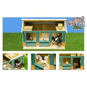 Kids Globe Farmer - 610002 - Ecurie avec 2 boxes et 1 atelier echelle 1:24 44x32x25,8 cm (310410)