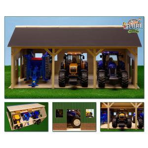 Kids Globe Farmer - 610340 - Bâtiment de ferme pour 3 tracteurs 55 x 77 x 38 cm (310432)