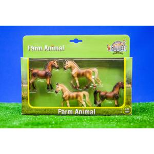 Kids Globe Farmer - 570013 - Set de 4 chevaux échelle 1:32 (310438)