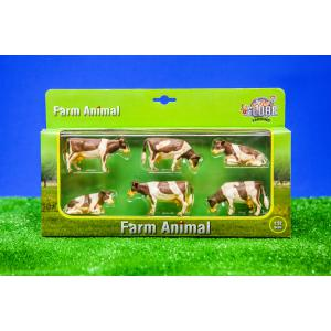 Kids Globe Farmer - 570010 - Set de 6 vaches alongees et debout coffret échelle 1:32 (310448)