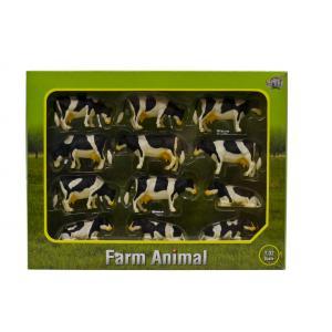 Kids Globe Farmer - 571929 - Set de 12 vaches noires et blanches couchées et allongées – coffret cadeau échelle 1:32 (310462)