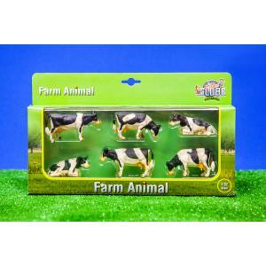 Kids Globe Farmer - 570009 - Set de 6 vaches noires et blanches couchées et allongées – coffret cadeau échelle 1:32 (310464)
