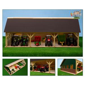 Kids Globe Farmer - 610224 - Hangar en bois pour tracteurs grand modèle 45 x 82 x 28 cm échelle 1:32 (310512)