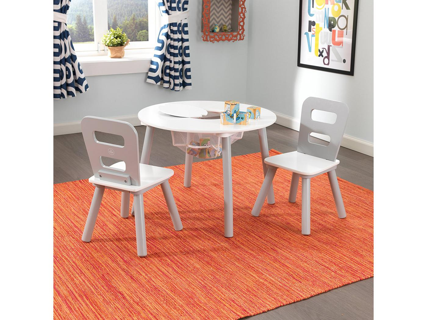 kidkraft ensemble table ronde avec rangement 2 chaises gris et blanc. Black Bedroom Furniture Sets. Home Design Ideas