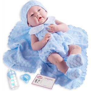 Berenguer - 18054 - Poupon Newborn nouveau né sexué garçon tenue tricotée bleue avec couverture 38 cm (320722)
