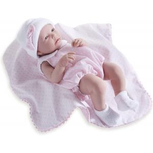 Berenguer / JC Toys - 18109 - Poupon Newborn nouveau né sexué fille barboteuse rose avec couverture 43 cm (320730)