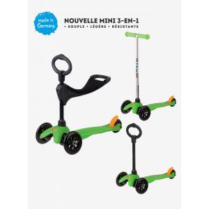Micro - MM0153 - Trottinettes enfants Mini 3in1 Sporty - Vert (siège, barre en O, barre en T) (328510)