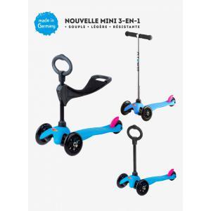 Micro - MM0092 - Trottinettes enfants Mini 3in1 Sporty - Neon Bleu (siège, barre en O, barre en T) (328520)