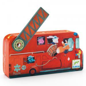Djeco - DJ07269 - Puzzle silhouettes Le camion de pompier - 16 pièces (330300)