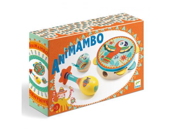 Animambo set de 3 instruments tambourin-maracas-castagnette