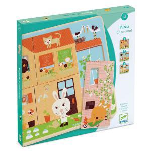 Djeco - DJ01480 - Puzzle bois 3 niveaux Chez-carot (331176)