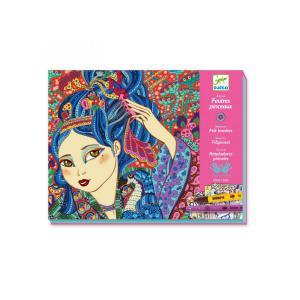 Djeco - DJ08613 - Feutres pinceaux jeunes filles aux cerisiers (331332)