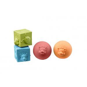 Vulli - 220119 - Set 2 balles + 2 cubes So'pure Sophie la girafe (à base de caoutchouc 100% naturel) (332818)