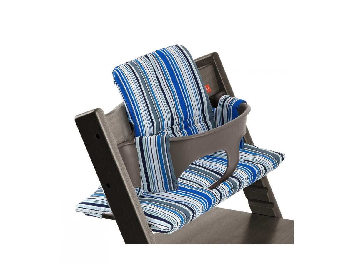 stokke coussin pour chaise tripp trapp rayures marine. Black Bedroom Furniture Sets. Home Design Ideas