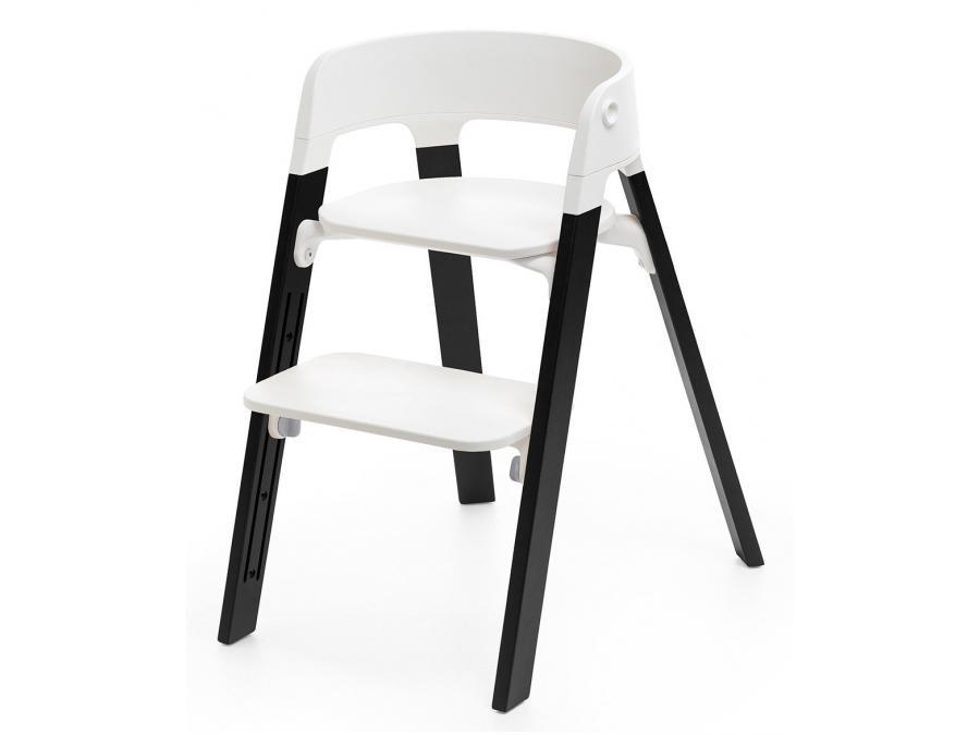 stokke chaise haute stokke steps tm pieds bois de chene couleur noir. Black Bedroom Furniture Sets. Home Design Ideas