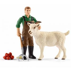 Schleich - 42375 - Figurine Fermier avec chèvre 18,7 cm x 5,2 cm x 17 cm (333314)