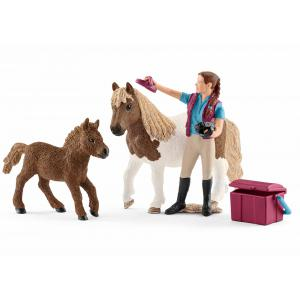 Schleich - 42362 - Soigneuse de chevaux avec poneys Shetland - 5,2 cm x 24,5 cm x 19 cm (333318)