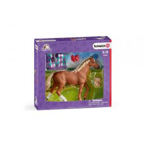 Schleich - 42360 - Figurine Pur-sang anglais + couverture 18,7 cm x 5,2 cm x 16,5 cm (333322)
