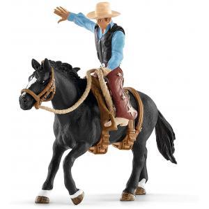 Schleich - 41416 - Selle western avec un cowboy - 8,2 cm x 15 cm x 18 cm (334666)
